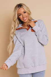 Lyn-Maree's  Quilted Faux Pocket Sweater - Product Mini Image