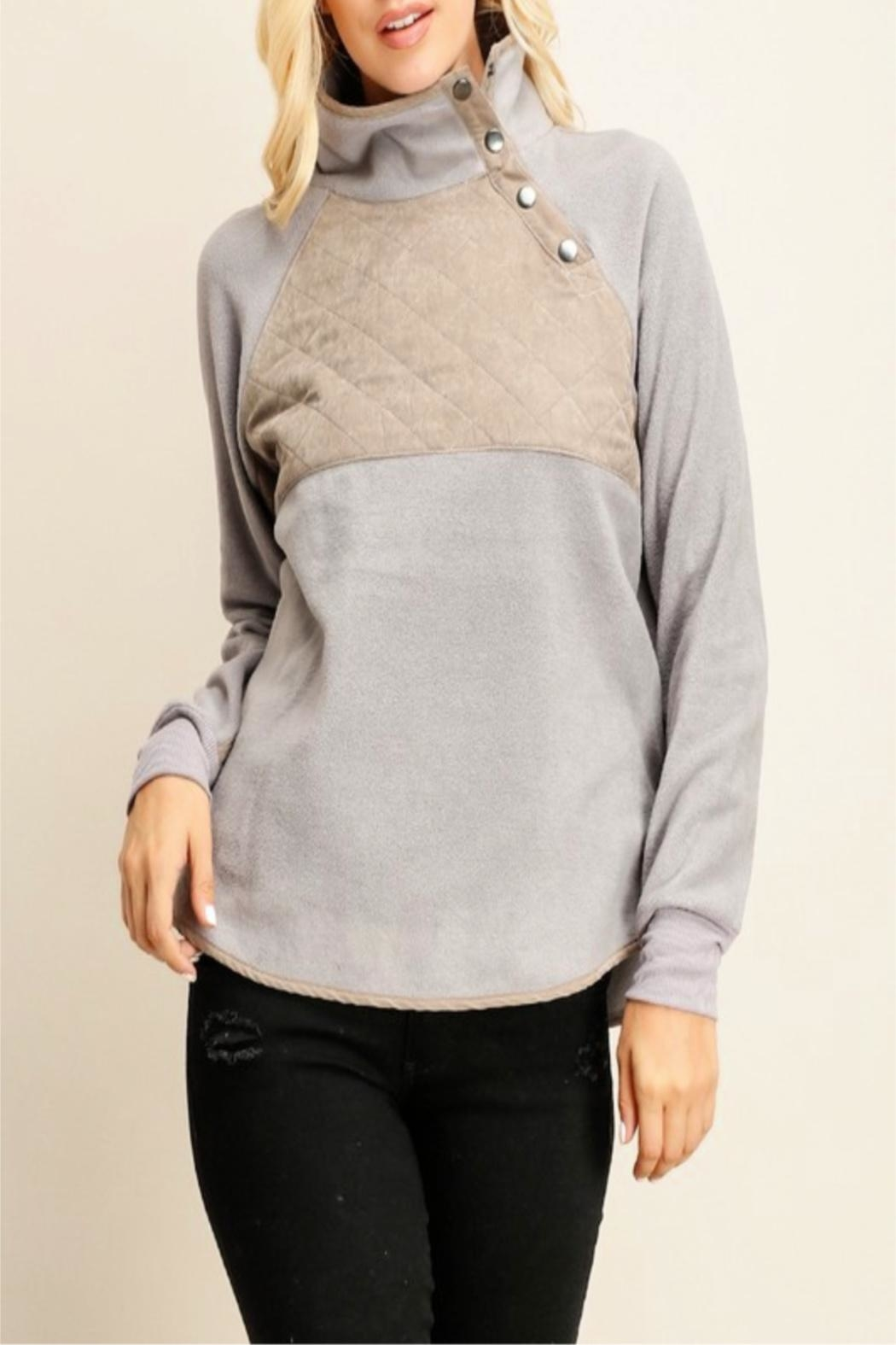 Miss Darlin Quilted Fleece Pullover - Front Cropped Image