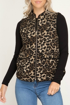 She + Sky Quilted Leopard Vest - Product List Image