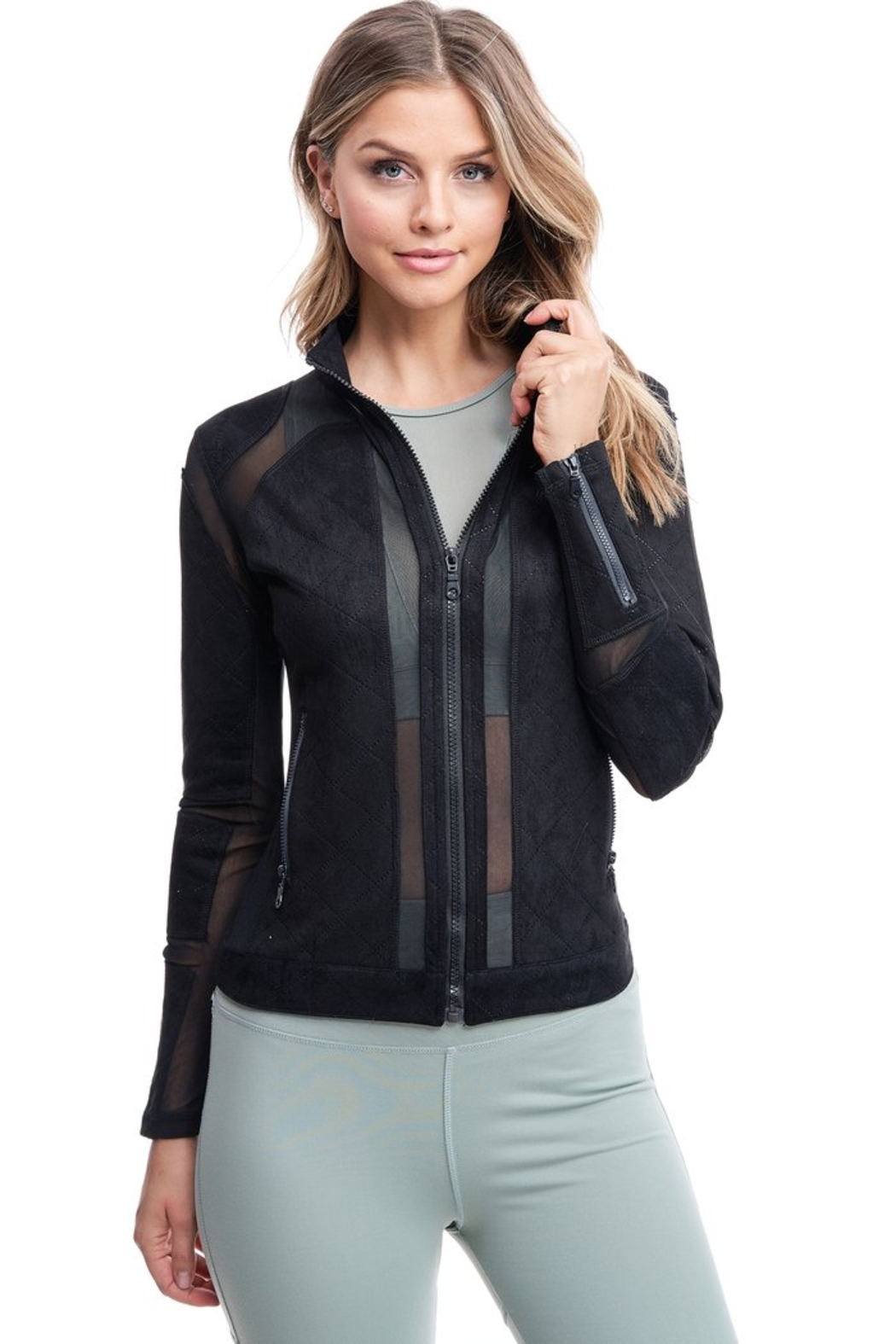 Society Quilted Mesh Jacket - Back Cropped Image