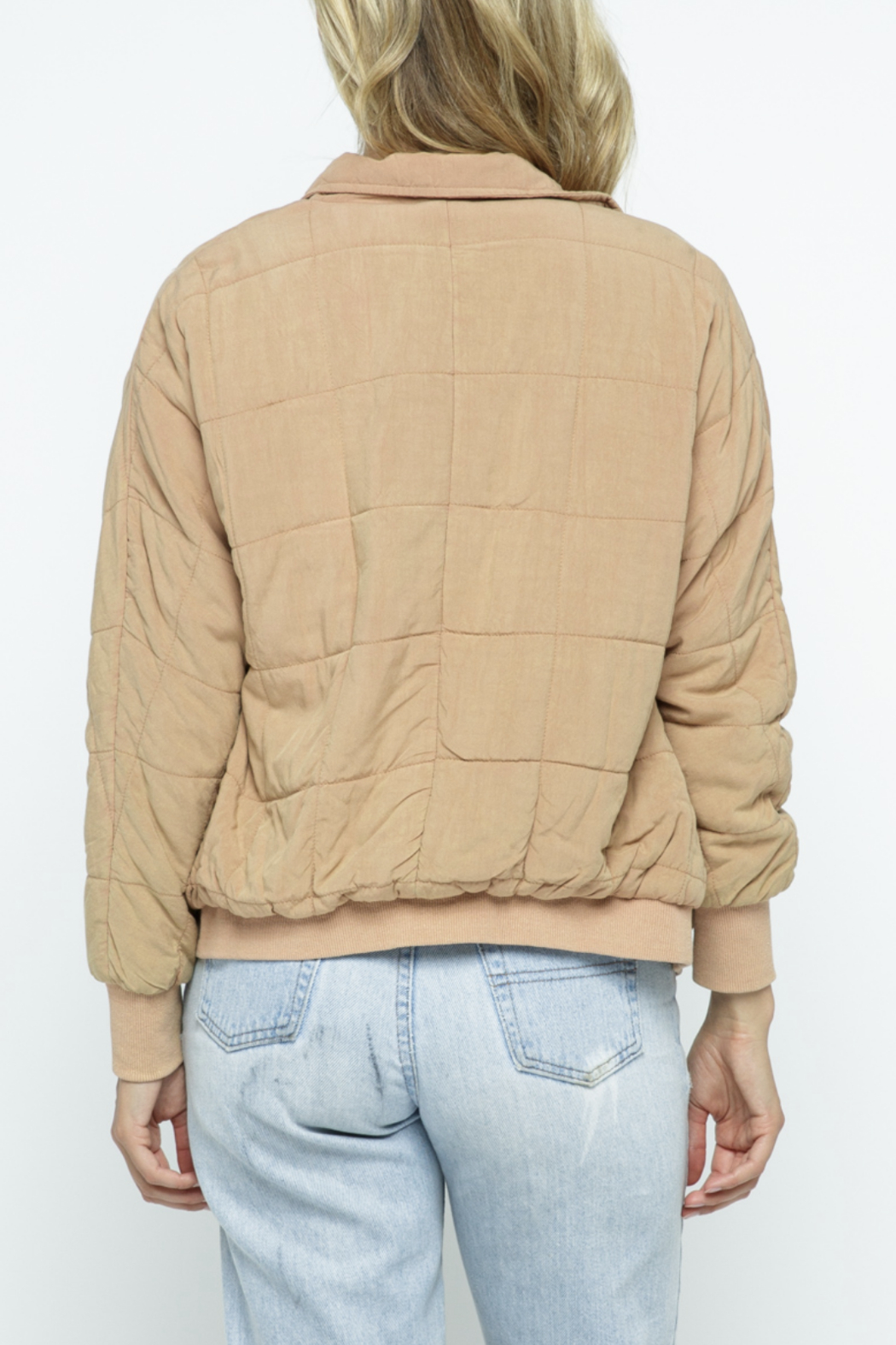 Polagram Quilted Puffer Bomber Jacket - Back Cropped Image