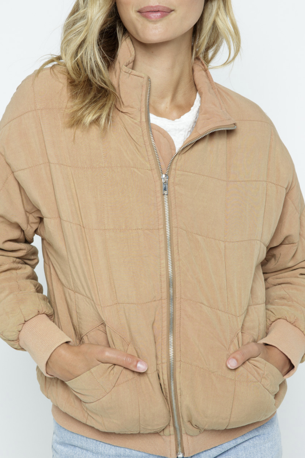 Polagram Quilted Puffer Bomber Jacket - Side Cropped Image