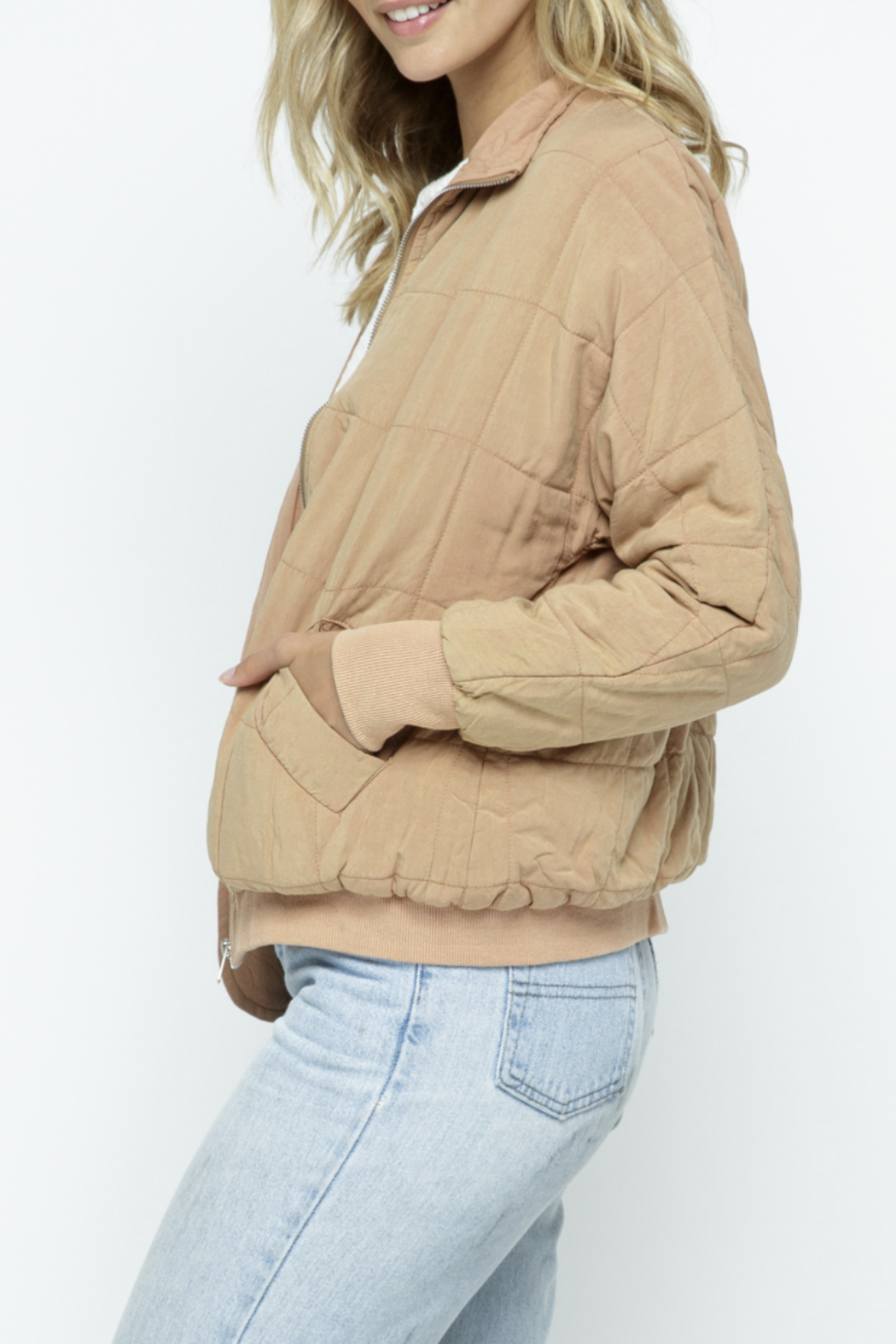 Polagram Quilted Puffer Bomber Jacket - Front Full Image