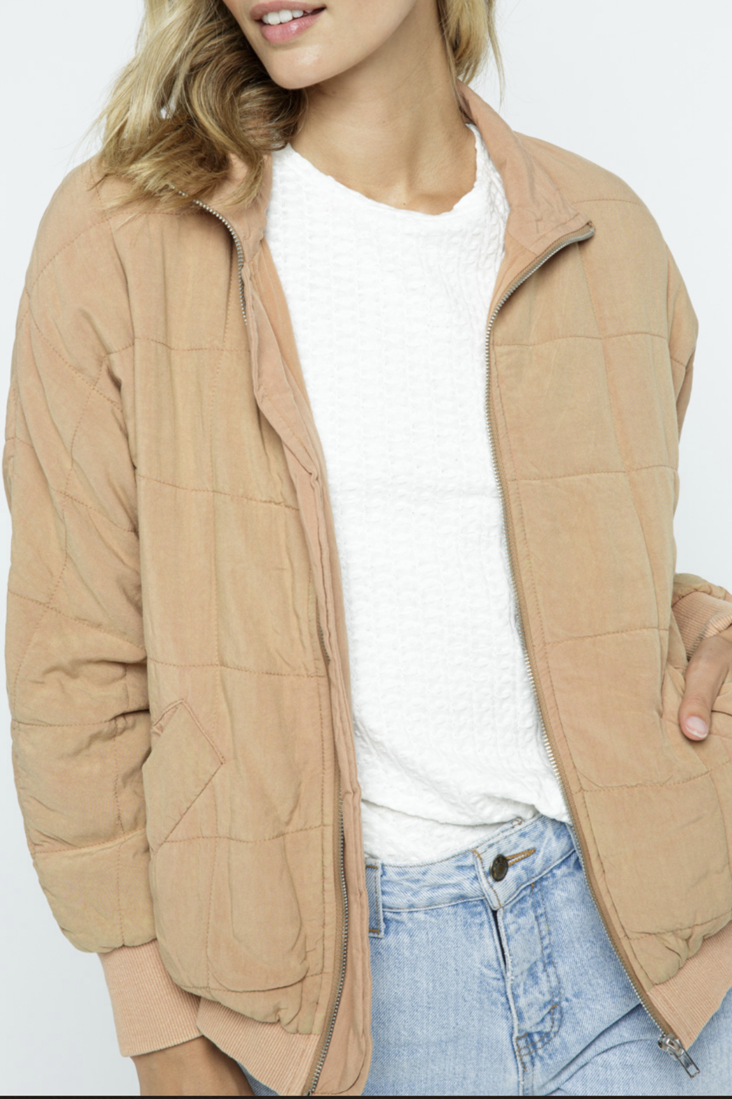 Polagram Quilted Puffer Bomber Jacket - Main Image