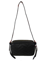 Empire Handbags  Quilted Vegan Leather Crossbody Wide Straps - Product Mini Image