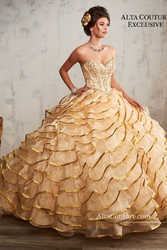 Mary's Bridal Quinceanera Couture Dresses In Champagne/Gold - Product List Image