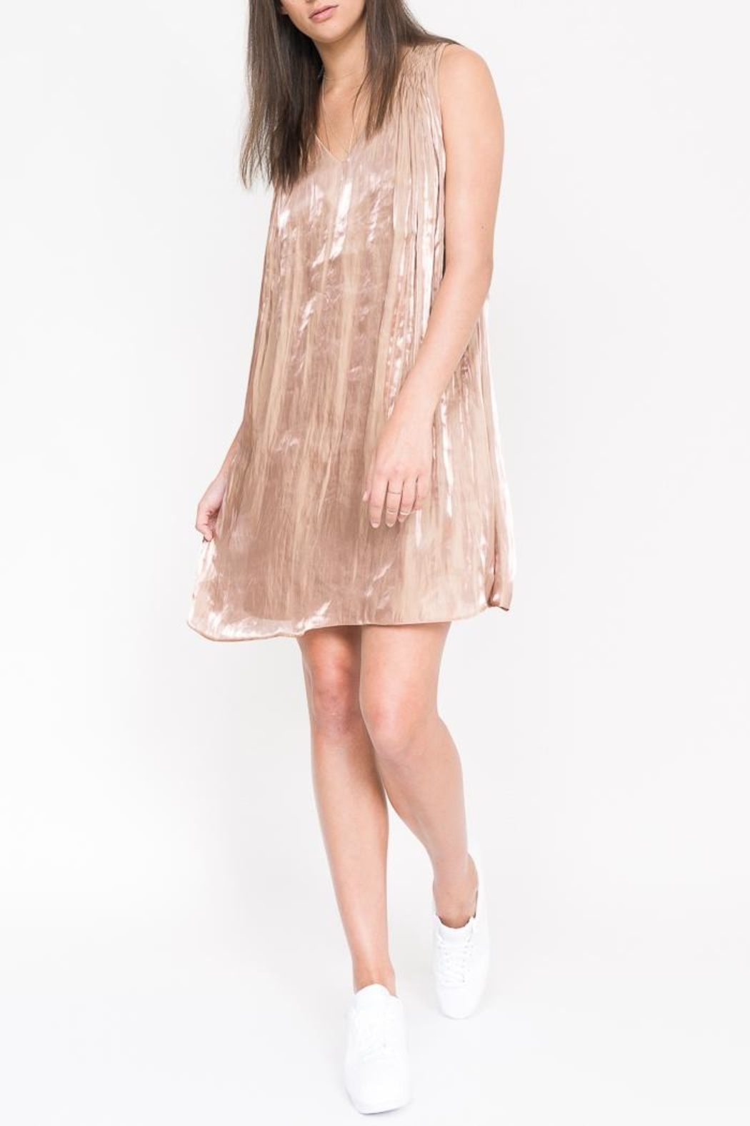 QUINN Geneva Pleated Dress - Front Cropped Image