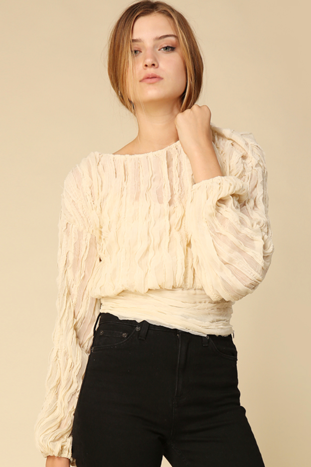 Line & Dot Quinn Long Sleeve Top - Back Cropped Image