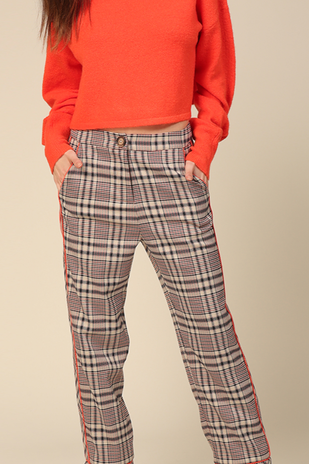 Line & Dot Quinn Side Contrast Pants - Main Image