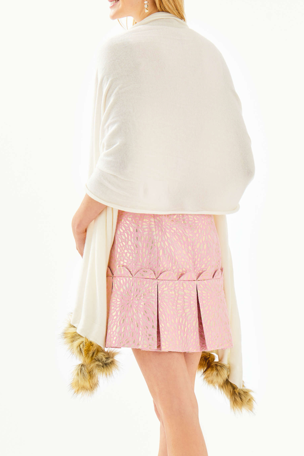 Lilly Pulitzer  Quinney Wrap Faux-Fur Pom-Pom Trim - Front Full Image