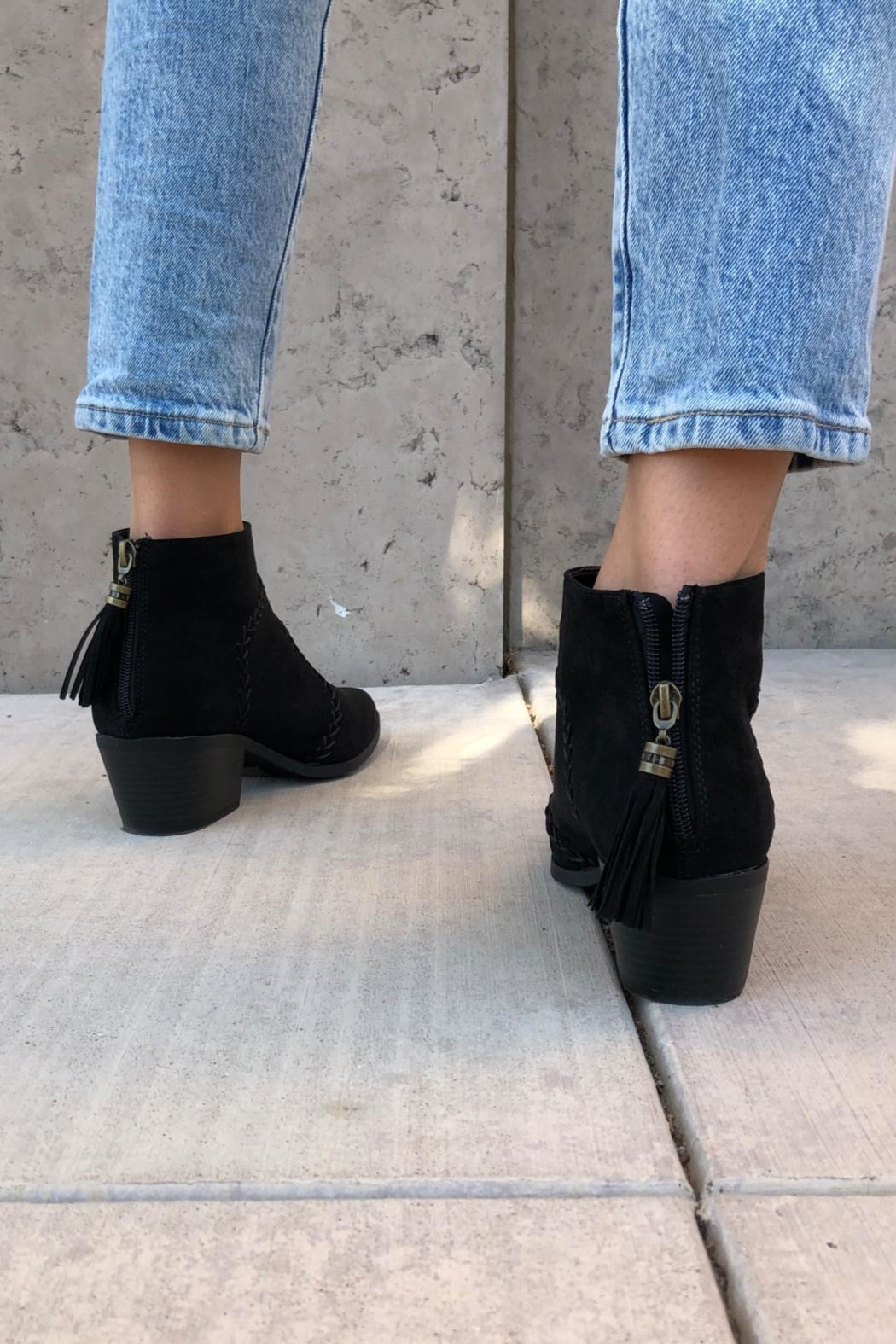 Quipid Stitched Suede Booties - Back Cropped Image