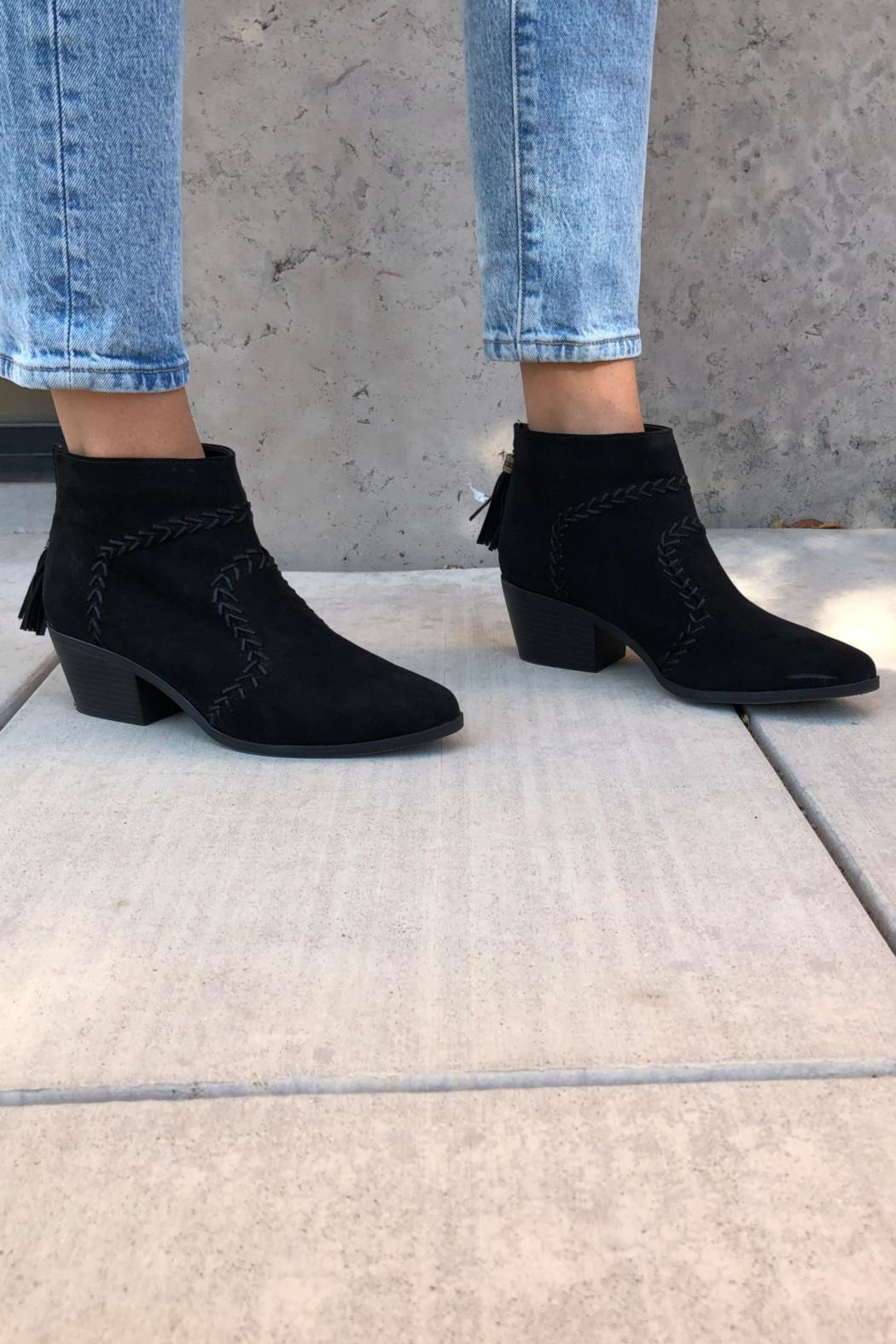 Quipid Stitched Suede Booties - Side Cropped Image