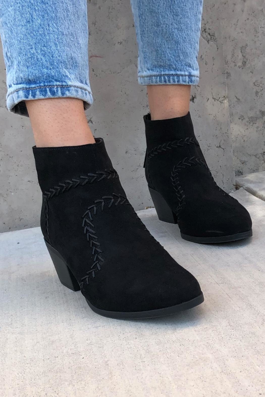 Quipid Stitched Suede Booties - Front Full Image