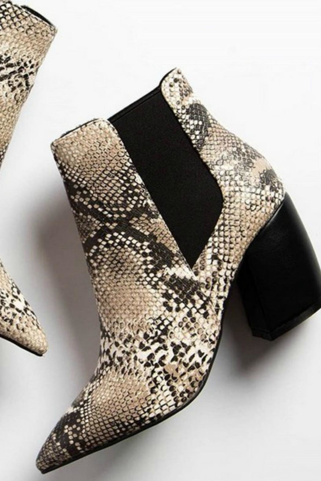 Qupid Beige Snakeskin Booties - Side Cropped Image
