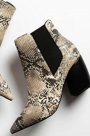 Qupid Beige Snakeskin Booties - Side cropped