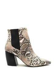 Qupid Beige Snakeskin Booties - Front full body