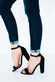 Qupid Black Chunky Heels - Product Mini Image