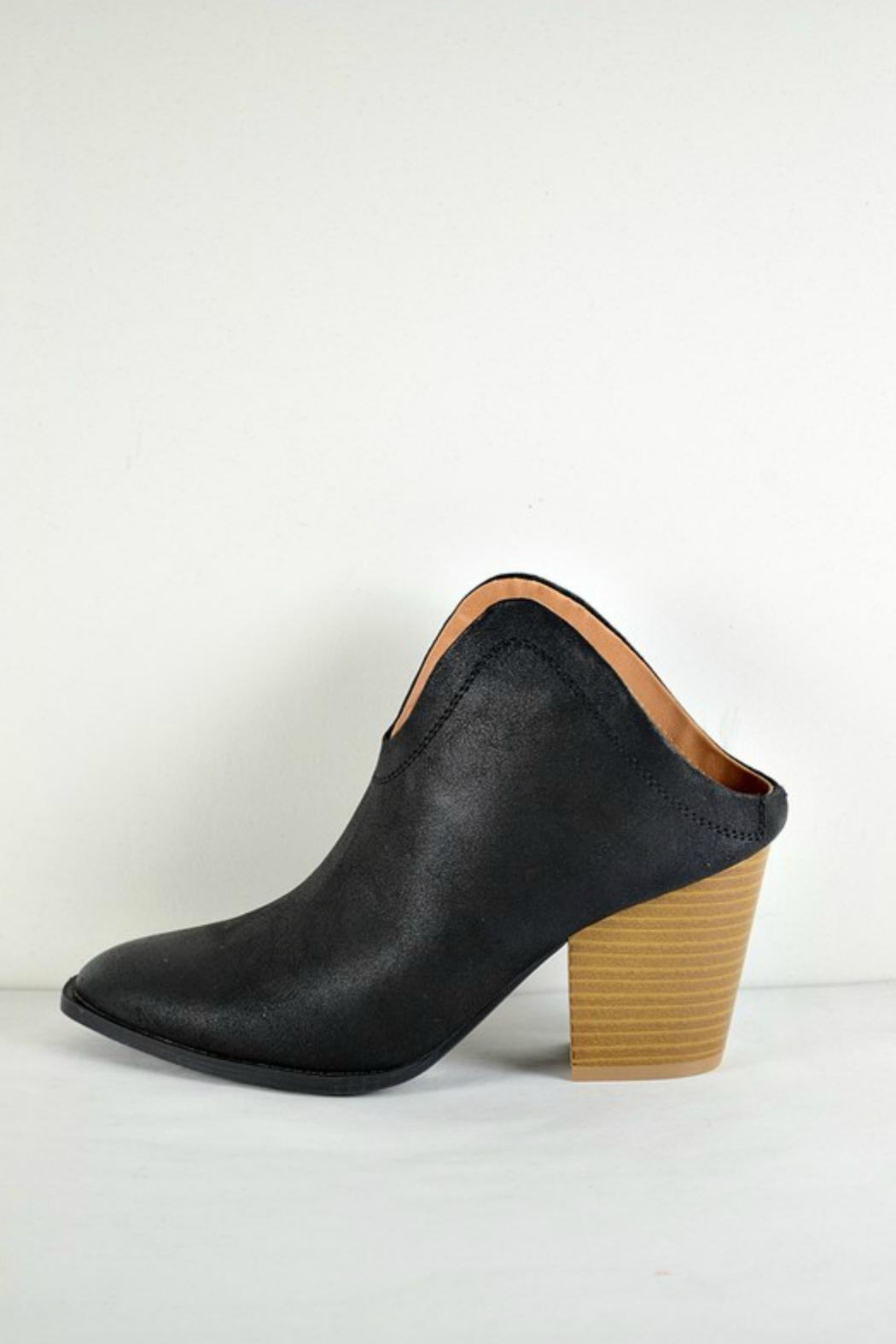 Qupid Black Mule Booties - Front Cropped Image