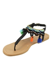 Qupid Black Tassel Sandals - Product Mini Image