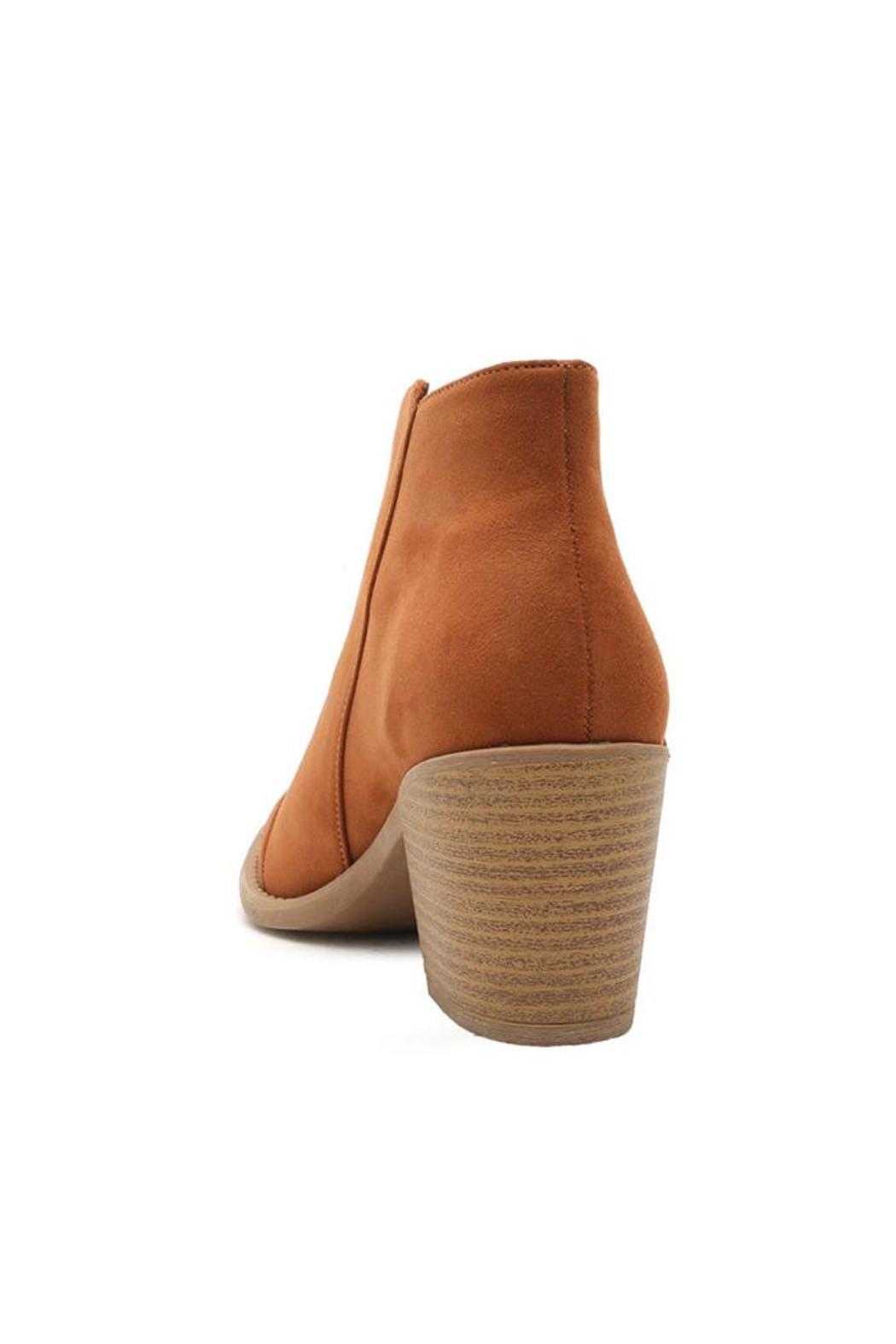Qupid Cognac Ankle Booties - Front Full Image