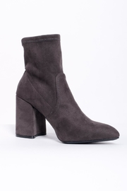 Qupid Grey Sock Boots - Front full body