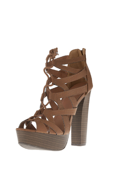 Qupid Lace Up Open Bootie - Alternate List Image
