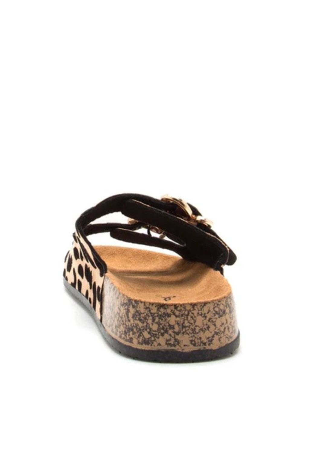 Qupid Leopard Footbed Sandal - Side Cropped Image