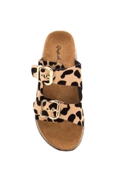 Qupid Leopard Footbed Sandal - Front full body