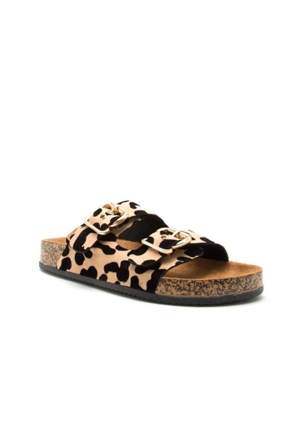 Qupid Leopard Footbed Sandal - Main Image