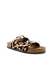 Qupid Leopard Footbed Sandal - Front cropped