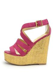 Qupid Metallic Gold Fuchsia Wedge - Product Mini Image