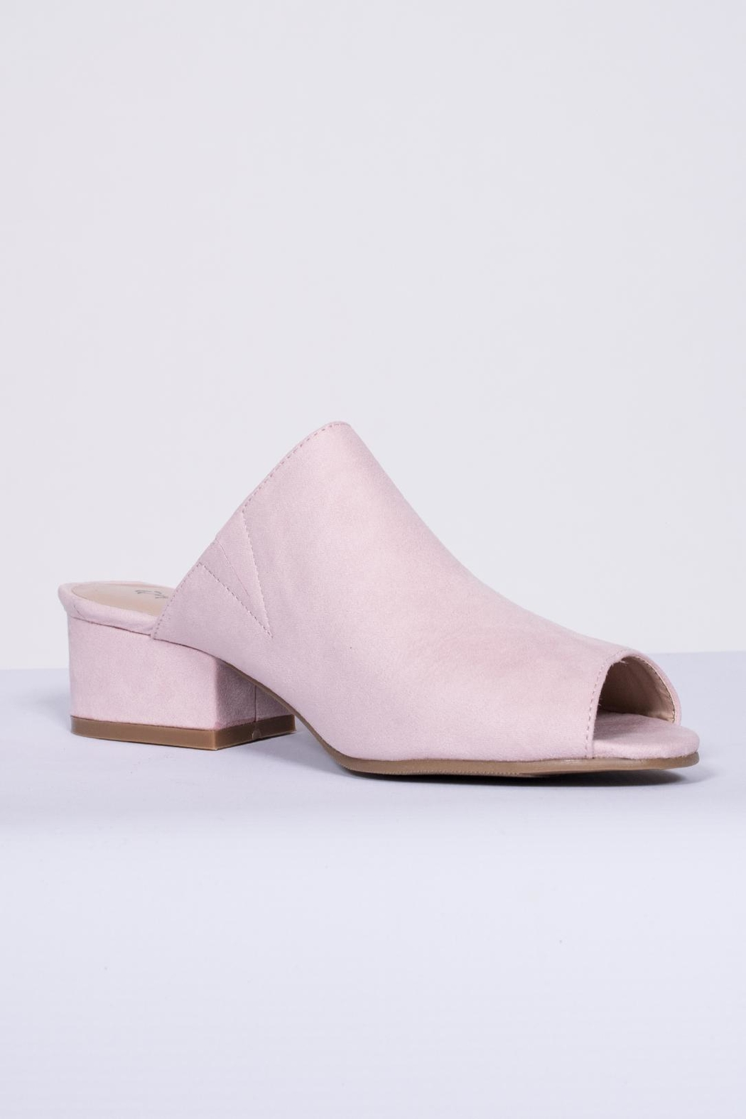 Qupid Pink Suede Mule - Front Full Image