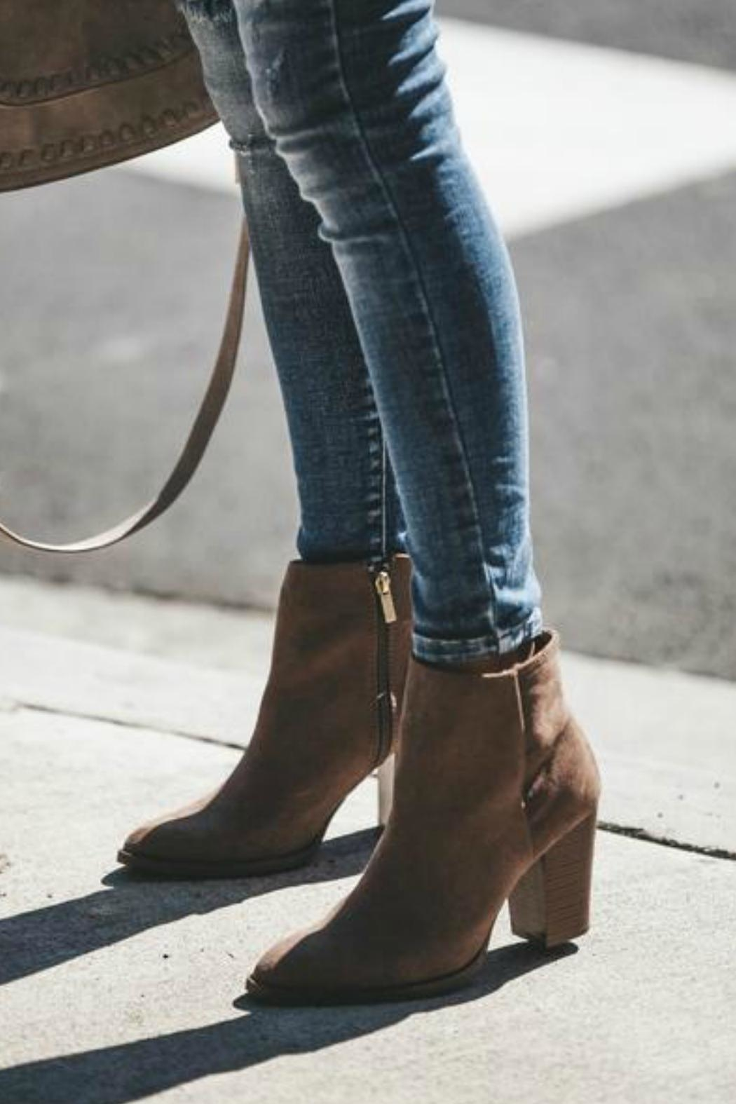 Qupid Portland Suede Booties - Back Cropped Image