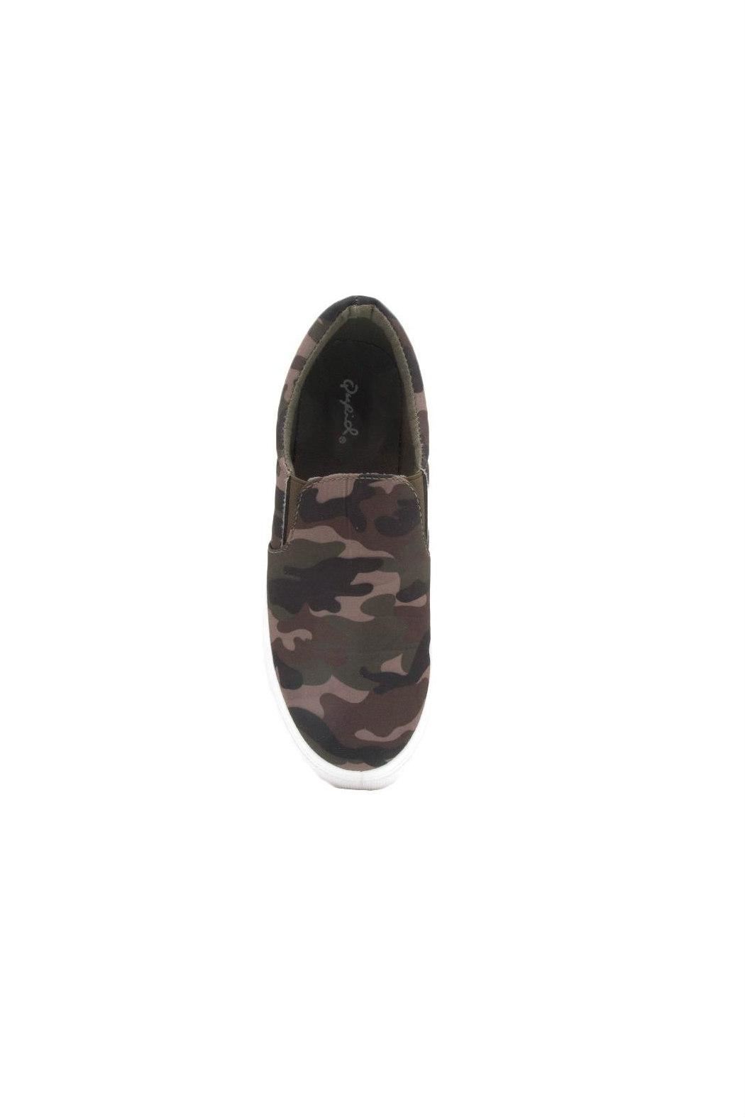 Qupid Royal Camo Sneaker - Back Cropped Image