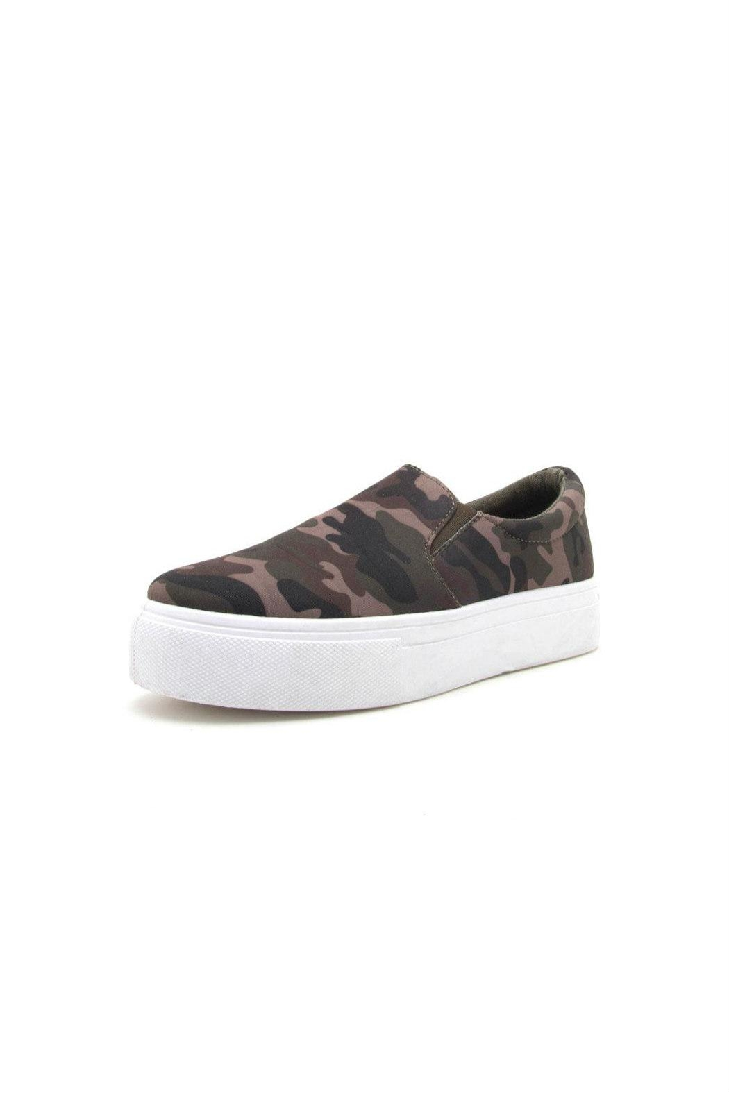 Qupid Royal Camo Sneaker - Front Cropped Image