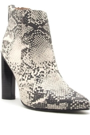 Qupid Snakeskin Heeled Bootie - Front cropped