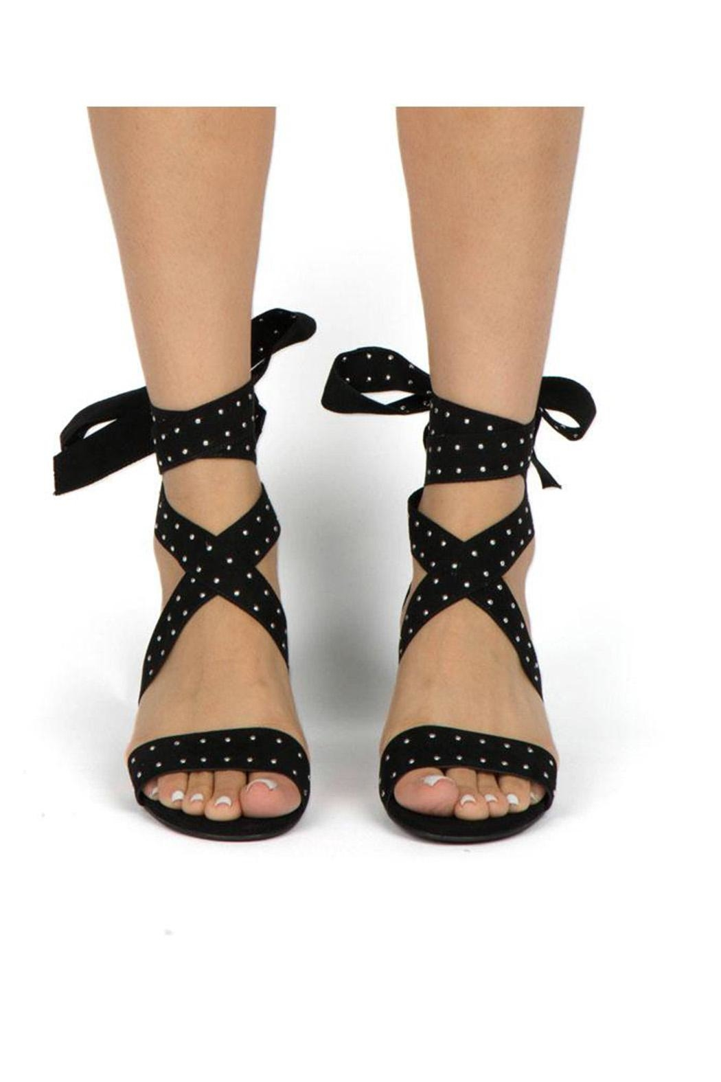 Qupid Studded Strappy Heel - Back Cropped Image