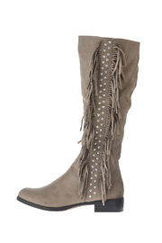 Qupid Suede Fringe Boots - Front cropped