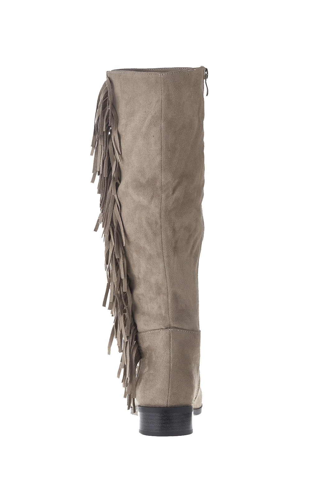 Qupid Suede Fringe Boots - Front Full Image