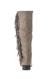 Qupid Suede Fringe Boots - Front full body