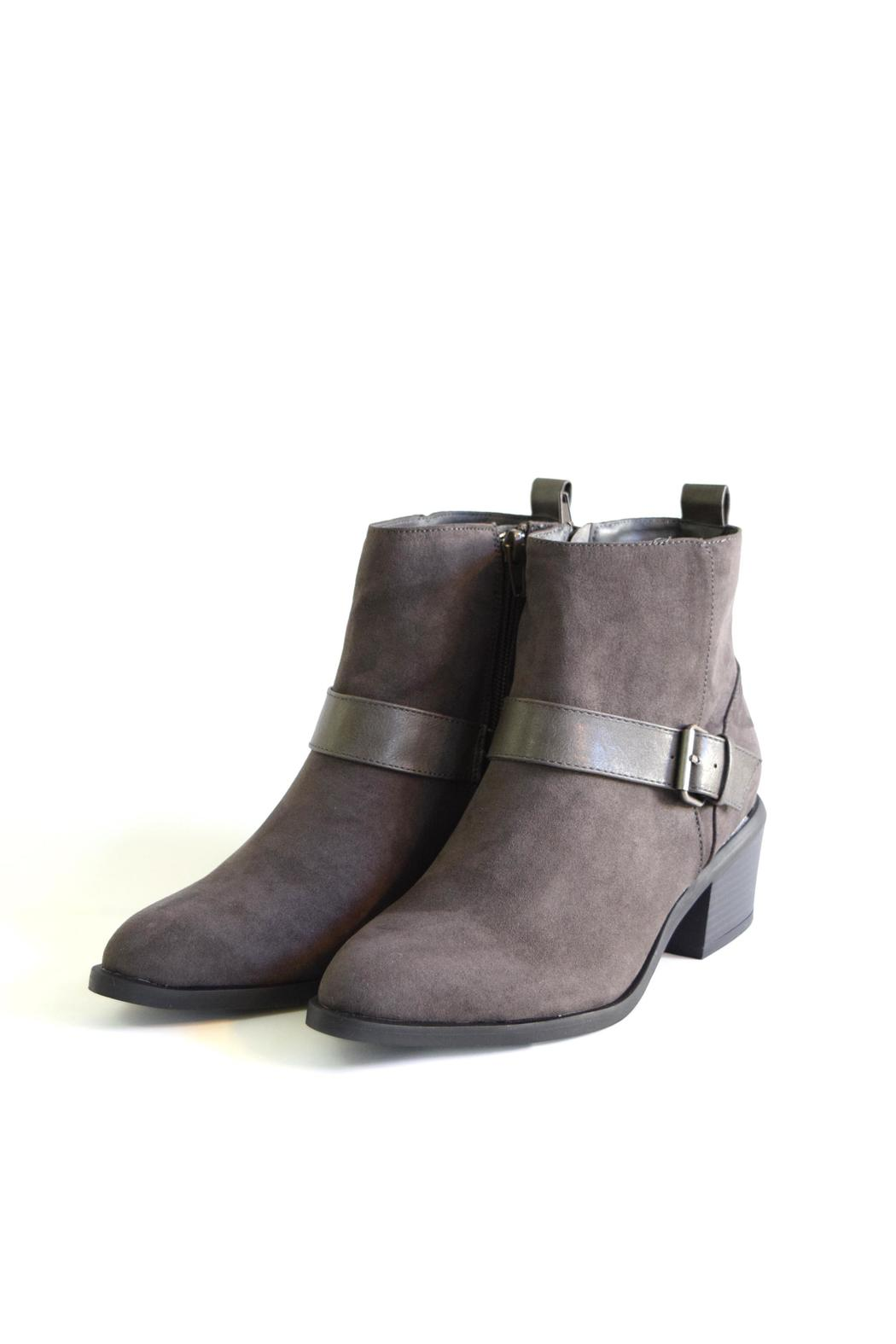 Qupid Suede Moto Boot - Side Cropped Image