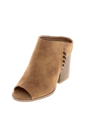 Qupid Suede Tan Stitch Mule - Front cropped