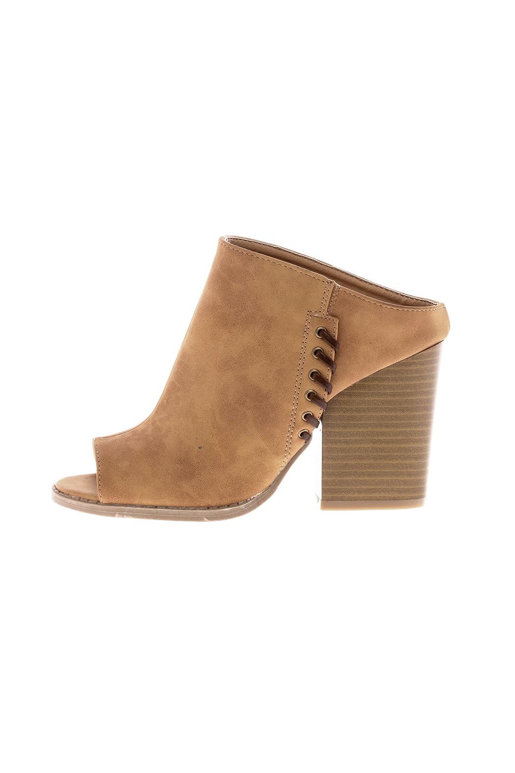 Qupid Suede Tan Stitch Mule - Front Full Image