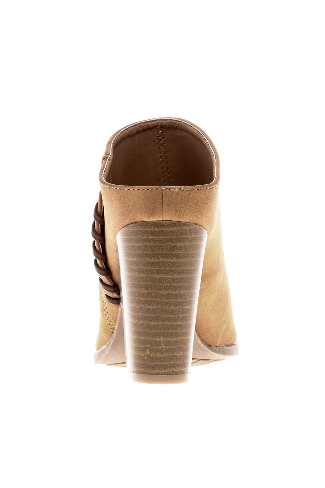 Qupid Suede Tan Stitch Mule - Back Cropped Image