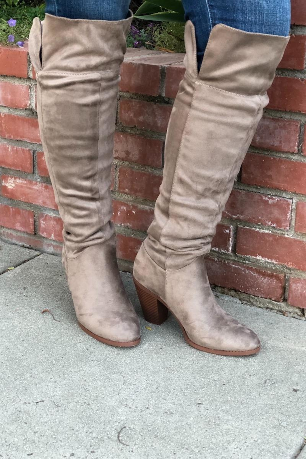 Qupid Taupe Heeled Boots - Main Image