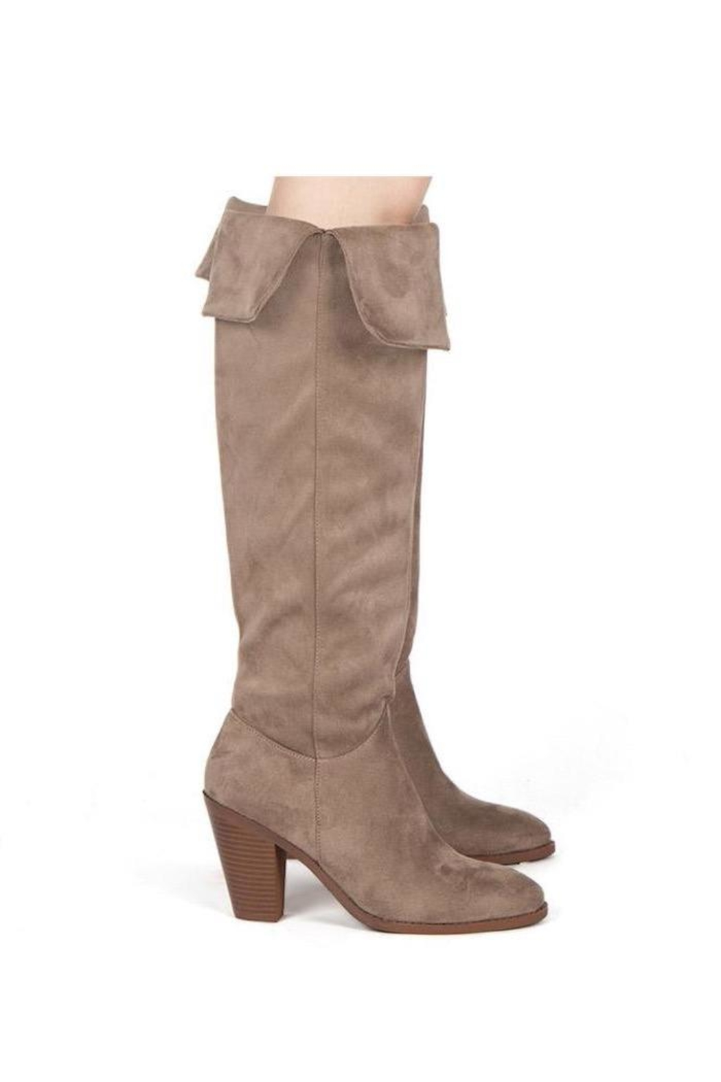 Qupid Taupe Heeled Boots - Front Full Image