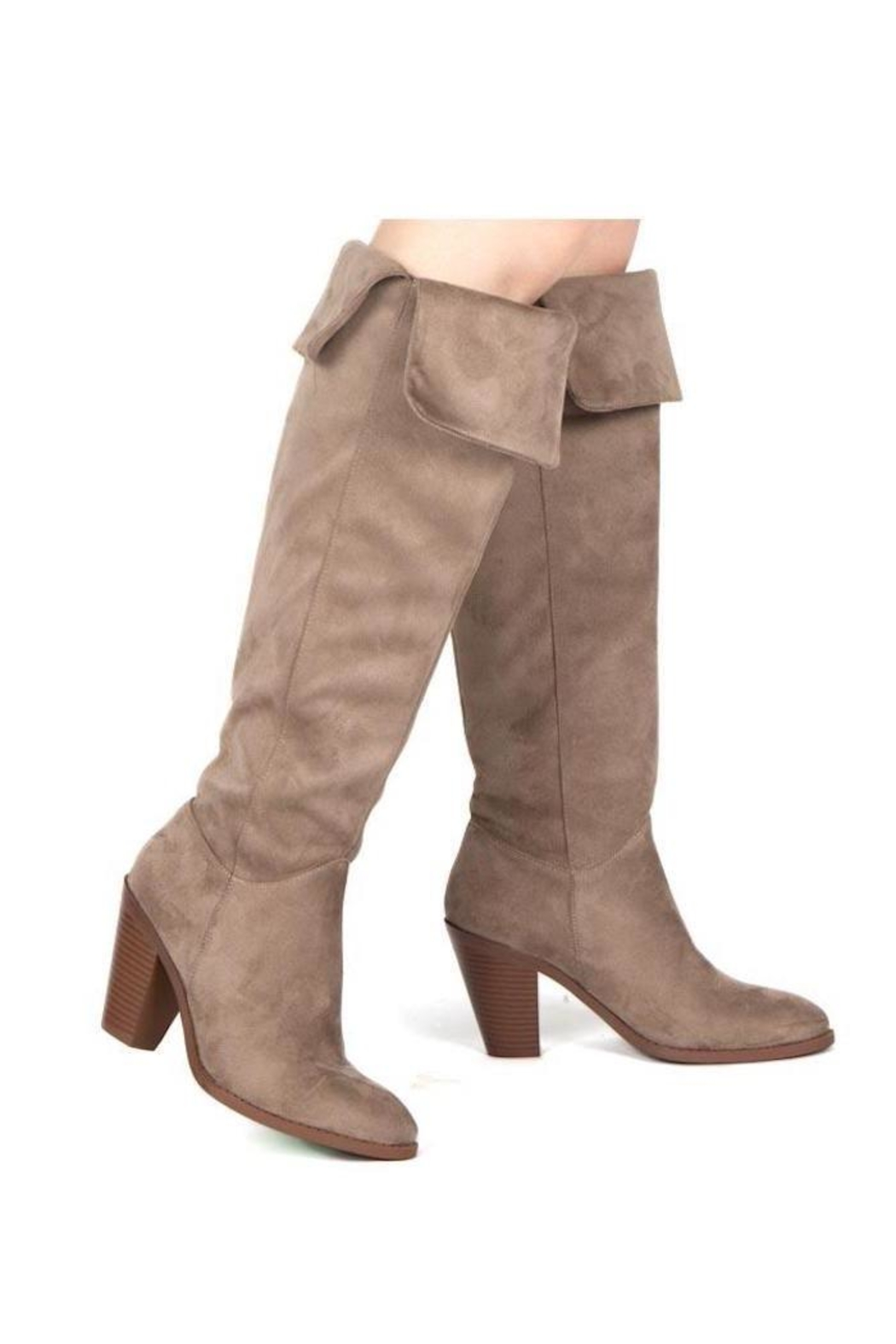 Qupid Taupe Heeled Boots - Side Cropped Image