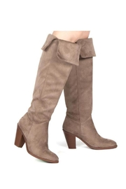 Qupid Taupe Heeled Boots - Side cropped