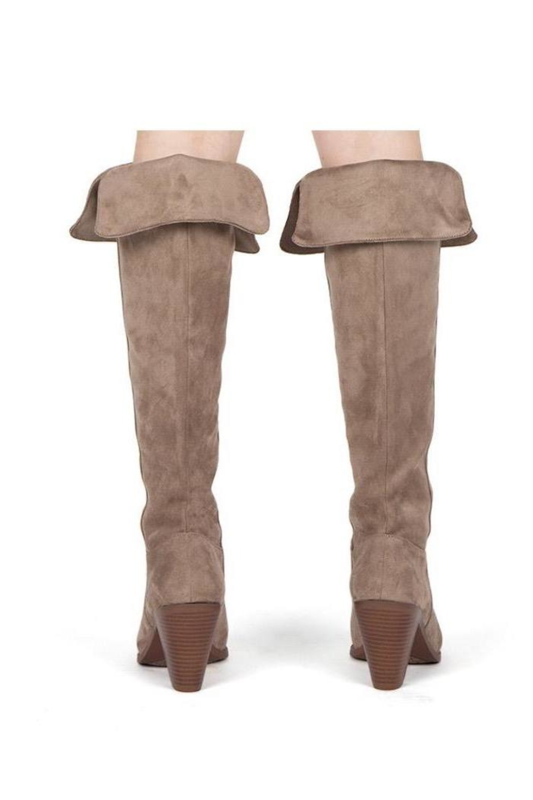 Qupid Taupe Heeled Boots - Back Cropped Image