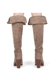 Qupid Taupe Heeled Boots - Back cropped